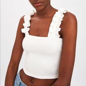 Zara White Ribbed Ruffle Crop Tank Top M